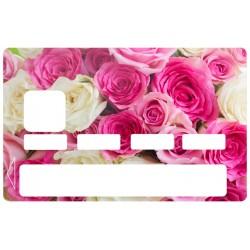 Autocollant CB Fleurs rose et blanche