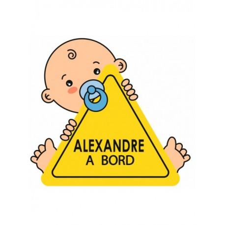 Sticker bébé à bord + prénom